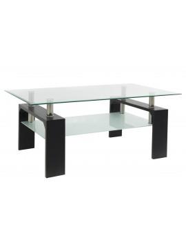 Τραπέζι σαλονιού Maiha pakoworld γυαλί χρώμα ποδιών wenge 100x60x42,5εκ 011-000028
