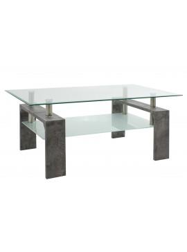Τραπέζι σαλονιού Maiha pakoworld γυαλί χρώμα ποδιών γκρι cement 100x60x42,5εκ 011-000030