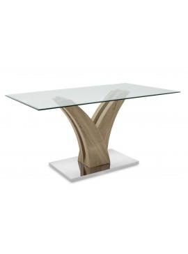 Tραπέζι Gull pakoworld γυαλί 10mm tempered-πόδι χρώμα sonoma 150x90x76εκ 011-000032