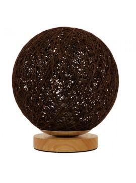 GloboStar® Μοντέρνο Επιτραπέζιο Φωτιστικό Πορτατίφ Μονόφωτο Καφέ Σκούρο Ξύλινο Ψάθινο Rattan Φ20 GloboStar WESTON 01337
