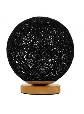 GloboStar® Μοντέρνο Επιτραπέζιο Φωτιστικό Πορτατίφ Μονόφωτο Μαύρο Ξύλινο Ψάθινο Rattan Φ20 GloboStar INDUS 01338
