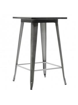 Τραπέζι μπαρ μεταλλικό Utopia pakoworld χρώμα μαύρο ασημί 60x60x101 019-000058