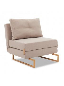 Πολυθρόνα-κρεβάτι Edda pakoworld ύφασμα μπεζ-καφέ 77x93x86εκ 024-000019