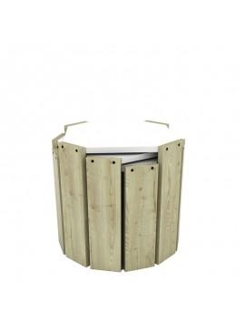 Τραπέζια ζιγκόν HANSEL pakoworld χρώμα oak - λευκό 44,5x44,5x41εκ 027-000003