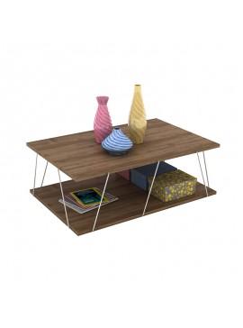 Τραπέζι σαλονιού TARS pakoworld χρώμα καρυδί λεπτομέρειες χρωμίου 90x60x30,5εκ 027-000008