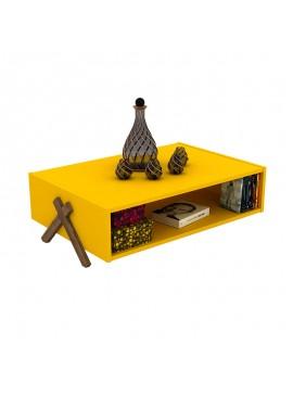 Τραπέζι σαλονιού KIPP pakoworld χρώμα κίτρινο-καρυδί 93,5x60,5x28,5εκ 027-000010