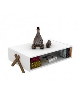 Τραπέζι σαλονιού KIPP pakoworld χρώμα λευκό - καρυδί 93,5x60,5x28,5εκ 027-000011