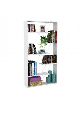 Βιβλιοθήκη TARS pakoworld  χρώμα λευκό με λεπτομέρειες χρωμίου 84x24x157εκ 027-000018