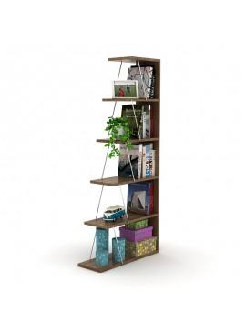 Βιβλιοθήκη mini TARS pakoworld χρώμα καρυδί-λεπτομέρειες χρωμίου 65x22x146εκ 027-000019