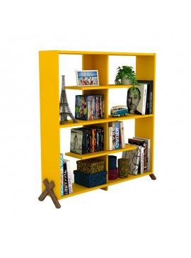 Βιβλιοθήκη KIPP pakoworld χρώμα κίτρινο με καρυδί λεπτομέρειες 113x28x115εκ 027-000026
