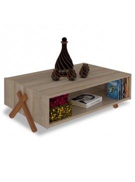 Τραπέζι σαλονιού KIPP pakoworld χρώμα sonoma-καρυδί 93,5x60,5x28,5εκ 027-000036