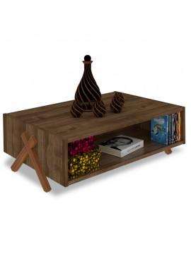 Τραπέζι σαλονιού Kipp pakoworld χρώμα καρυδί  93,5x60,5x28,5εκ 027-000039