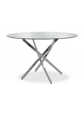 Τραπέζι στρόγγυλο Steve pakoworld με γυάλινη επιφάνεια διαφανές Φ120x74,5εκ 029-000030