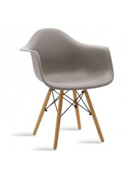 Πολυθρόνα Julita pakoworld πολυπροπυλενίου χρώμα γκρι - φυσικό 029-000040