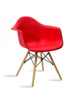 Πολυθρόνα Julita pakoworld πολυπροπυλενίου χρώμα κόκκινο -  φυσικό 029-000041