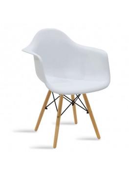 Πολυθρόνα Julita pakoworld πολυπροπυλενίου χρώμα λευκό - φυσικό 029-000042