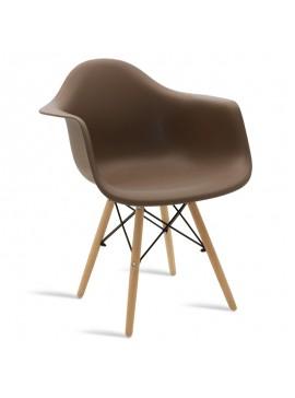 Πολυθρόνα Julita pakoworld πολυπροπυλενίου χρώμα μόκα - φυσικό 029-000044