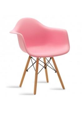 Πολυθρόνα Julita pakoworld πολυπροπυλενίου χρώμα ροζ - φυσικό 029-000047