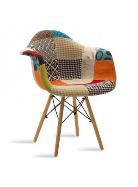 Πολυθρόνα Julita pakoworld ύφασμα patchwork πολύχρωμο - φυσικό 029-000059