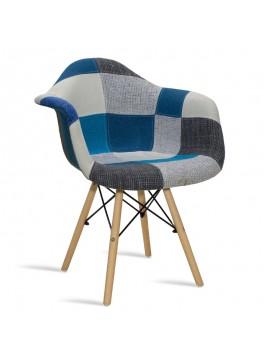 Πολυθρόνα Julita pakoworld ύφασμα patchwork μπλε-γκρι 029-000060