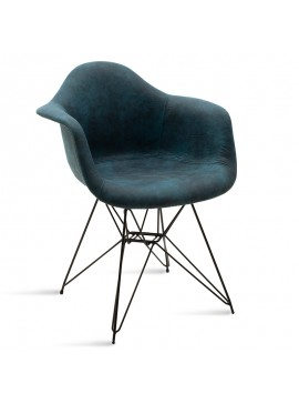 Πολυθρόνα Amethyst pakoworld μεταλλική μαύρη με pu μπλε antique 029-000068