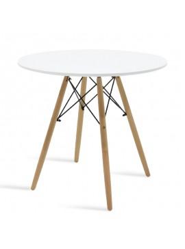 Τραπέζι Julita pakoworld Φ80 επιφάνεια MDF λευκό 029-000077