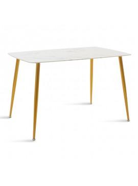 Τραπέζι Paris pakoworld οβάλ γυαλί 8mm σχέδιο μαρμάρου-χρυσό 120x80x75εκ 029-000086