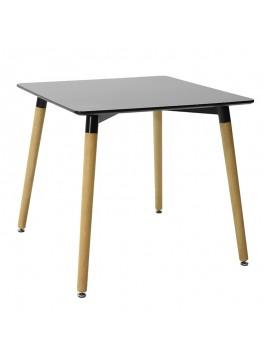Τραπέζι Natali τετράγωνο MDF χρώμα μαύρο gloss 80x80x76εκ 029-000092