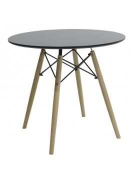 Τραπέζι Julita pakoworld Φ80 επιφάνεια MDF μαύρο gloss 029-000093