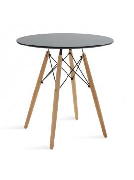 Τραπέζι Julita pakoworld Φ70 επιφάνεια MDF μαύρο 029-000095