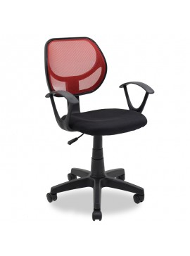 Παιδική καρέκλα Sara pakoworld με ύφασμα mesh χρώμα μαύρο-κόκκινο 034-000009