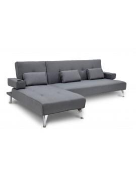 Γωνιακός καναπές κρεβάτι Luxury pakoworld με γκρι ύφασμα 258x156x84εκ 035-000001