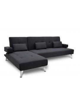 Γωνιακός καναπές κρεβάτι Luxury pakoworld με μαύρο ύφασμα 258x156x84εκ 035-000002