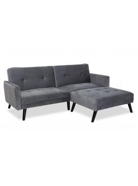 Γωνιακός καναπές-κρεβάτι με σκαμπό Dream pakoworld  γκρι-ασημί βελούδο 209x87-195x80εκ 035-000015