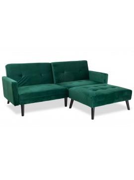 Γωνιακός καναπές-κρεβάτι με σκαμπώ Dream pakoworld  σκούρο πράσινο βελούδο 209x87-195x80εκ 035-000017