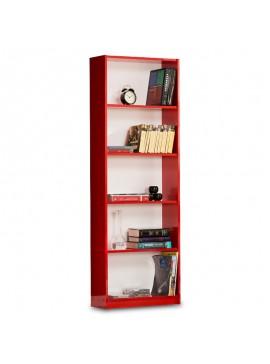 Βιβλιοθήκη Max pakoworld σε κόκκινο χρώμα 58x23x170εκ 039-000017