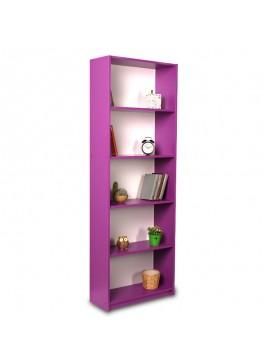 Βιβλιοθήκη Max pakoworld σε μωβ χρώμα 58x23x170εκ 039-000018