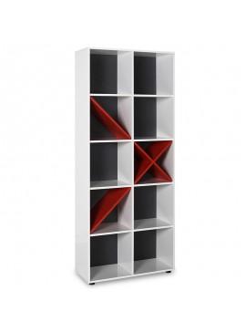 Βιβλιοθήκη Gaming pakoworld σε λευκό-κόκκινο-ανθρακί  χρώμα 75x30x188εκ 039-000049