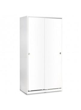 Ντουλάπα ρούχων Slide pakoworld δίφυλλη με συρόμενες πόρτες χρώμα λευκό 94x52x182εκ 039-000073