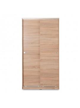 Ντουλάπα ρούχων Slide pakoworld δίφυλλη με συρόμενες πόρτες - χώρισμα χρώμα sonoma 94x52x182εκ 039-000076