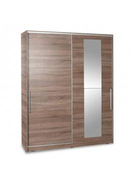 Ντουλάπα ρούχων Slide pakoworld δίφυλλη με συρόμενες πόρτες χρώμα latte 160x60x207εκ 039-000078