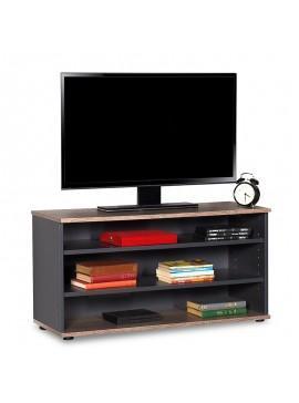 Έπιπλο τηλεόρασης Flat Line pakoworld σε latte - ανθρακί χρώμα 90x35x48εκ 039-000086
