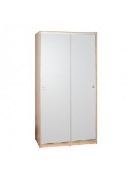 Ντουλάπα ρούχων Slide pakoworld δίφυλλη συρόμενες πόρτες λευκό-sonoma 94x52x182εκ 039-000122
