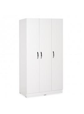 Ντουλάπα ρούχων Drum pakoworld τρίφυλλη λευκό 91x47x182εκ 039-000124