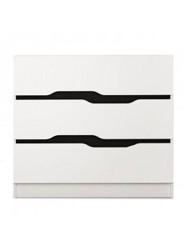 Συρταριέρα Comfy pakoworld με τρία συρτάρια χρώμα λευκό-μαύρο 100x38,5x71εκ 043-000090