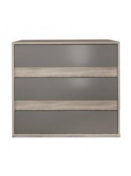 Συρταριέρα Stillness pakoworld με τρία συρτάρια χρώμα sonoma-μόκα 80x45x70εκ 043-000091