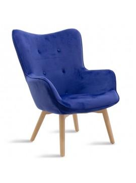 Πολυθρόνα Kido pakoworld υφασμάτινη βελούδο χρώμα μπλε 046-000007