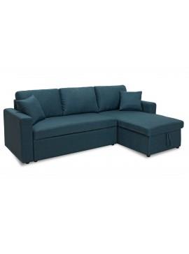 Γωνιακός καναπές κρεβάτι Marvel pakoworld αναστρέψιμος με αποθηκευτικό χώρο μπλε ύφασμα 048-000004