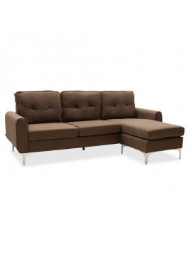 Γωνιακός καναπές Ballon pakoworld αναστρέψιμος υφασμάτινος χρώμα καφέ 218x135x83,5εκ 048-000023