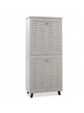 Παπουτσοθήκη-ντουλάπα MANTAM pakoworld 24 ζεύγων χρώμα λευκό γκρι 78x40x170,5εκ 049-000008
